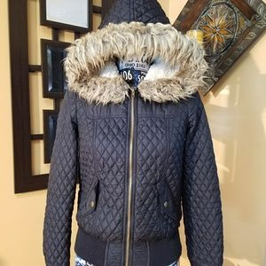 BLACK QUILTED JACKET WTH FAUX FUR HOOD